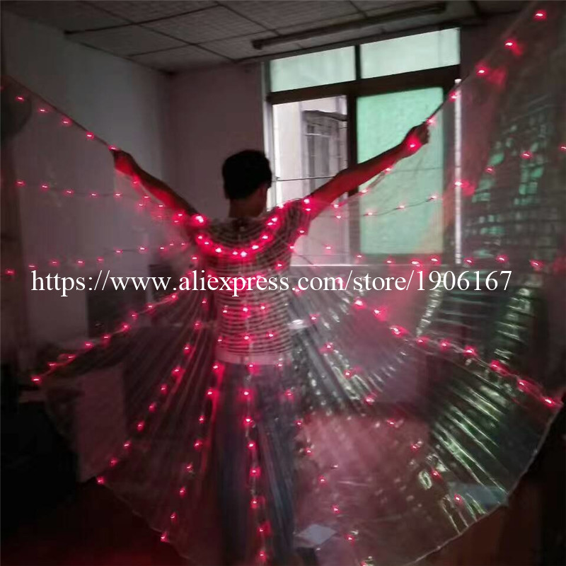 2017 Stafe Performance Prop Women Dancewear Girls DJ LED Wings Light Up Wings Belly Dance Wing Costume06