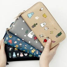 2017 new arrival Cute pretty style PU Cartoon printed women long wallet lady's zipper long animal printed purse 4 colors