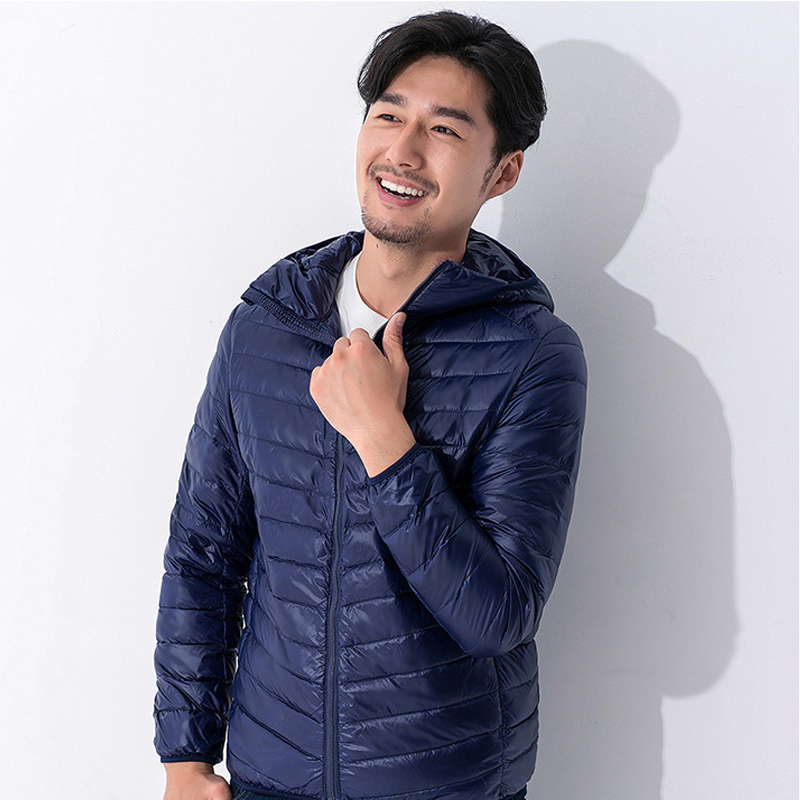 90% white duck down light down jacket men's 2018 winter fashion brand large size hooded down jacket black navy blue red green