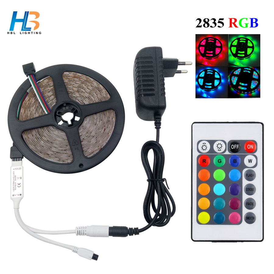 HBL 10M 5M 2835 RGB led strip light 3528 SMD IP65 waterproof +DC12v adapter +24keys remote Flexible LED Strip rgb full set(China (Mainland))