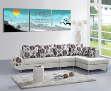 3 piece canvas wall art  Living room painting Blue canvas painting Chinese art  Sunset  Office art pictures