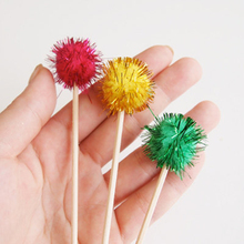 Sparkle Red/Green or Yellow Cupcake Toppers Cake Picks Tinsel Drink Stirrers Christmas/New Year or Party Birthday Decorations