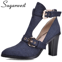 Sugarwest Europe Sexy Summer Ankle Boots Women Buckle Denim Thick Soled Shoes Ladies Jeans Boots Botines Botas Mujer WW840