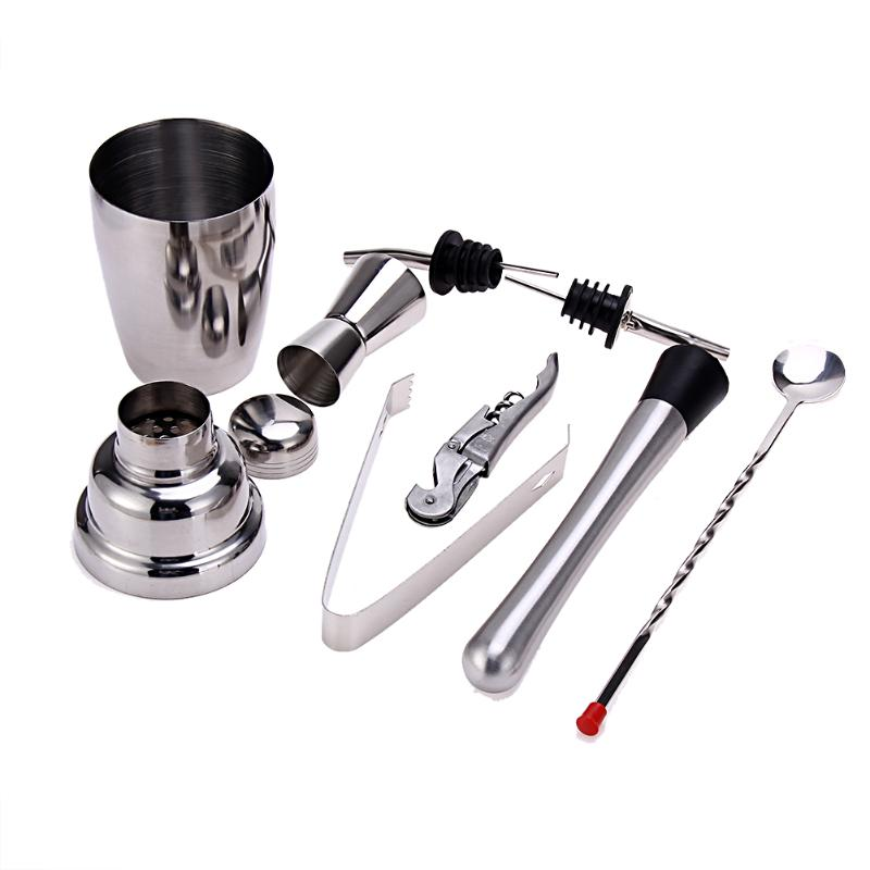 Stainless Steel Cocktail Bartender Shaker Wine Tools Jigger Mixing Spoon Ice Tongs Corkscrew Muddler Pourers Bar Tools