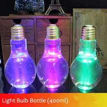 2016 New Lamp Beverage Bottle Milk bulb bottle 400ml Creative Juice tea shop drink bottles with straw free shipping(China)