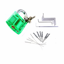 Locksmith Tools Kit 3 In 1 Set  Green Transparent Lock ,5pcs Locksmith Wrench Tools,10pcs Locksmith Broken Key Extractor Tools