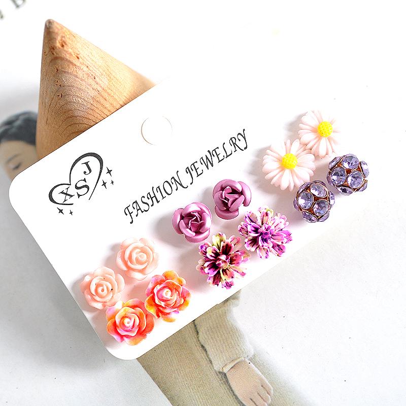 Hot new fashion women jewelry, girls birthday party flower shaped stud earrings, beautiful powder, purple yellow green Earrings 32