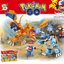 Monster Go Ash Ketchum Charizard vs Blastoise Pikachu Charmander Bulbasaur Model DIY Building Blocks minifig Kids Toys