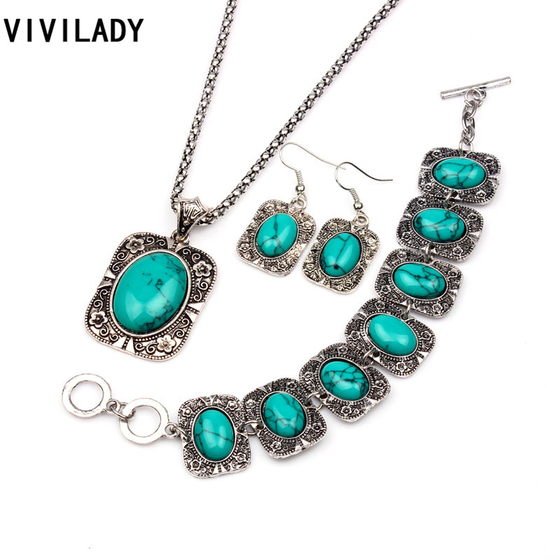 VIVILADY Vintage Silver Color Jewelry Sets Women Natural Stone Necklace Bracelet Earrings Bridal Wedding Party Christmas Gift(China (Mainland))