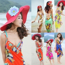 1 pc Deep V Wrap Chiffon Flower Printed Swimwear Bikini Cover Up Sarong Beach Shawl Scarves Stole Dress Hot