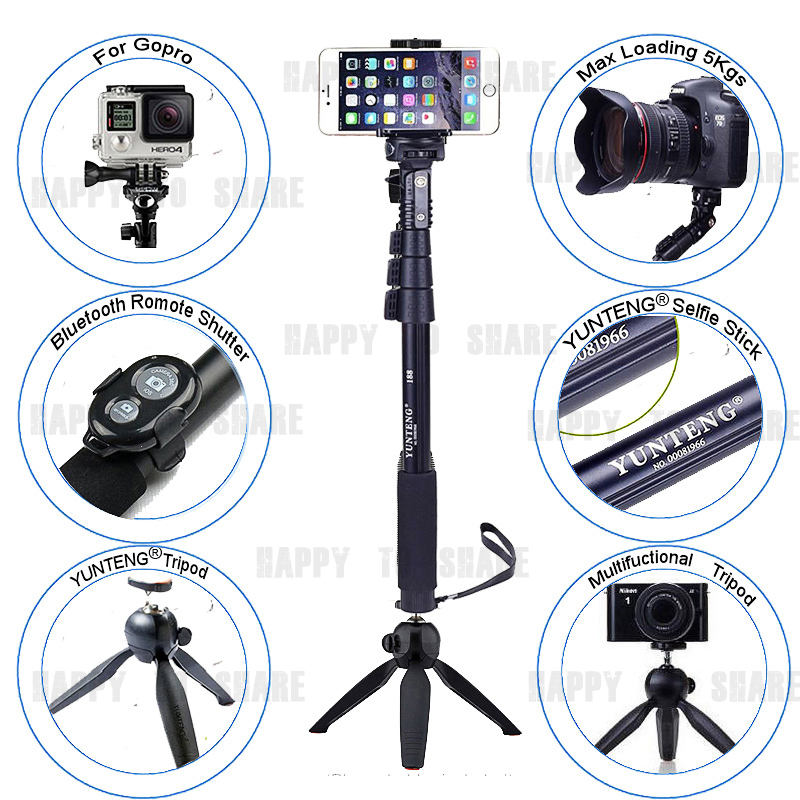 YUNTENG Tripod Bluetooth Remote Shutter 18-50 Self-Portrait Stick Monopod For Sony/For IPHONE 7 6S PLUS For Galaxy NOTE S7 S6 J<br><br>Aliexpress