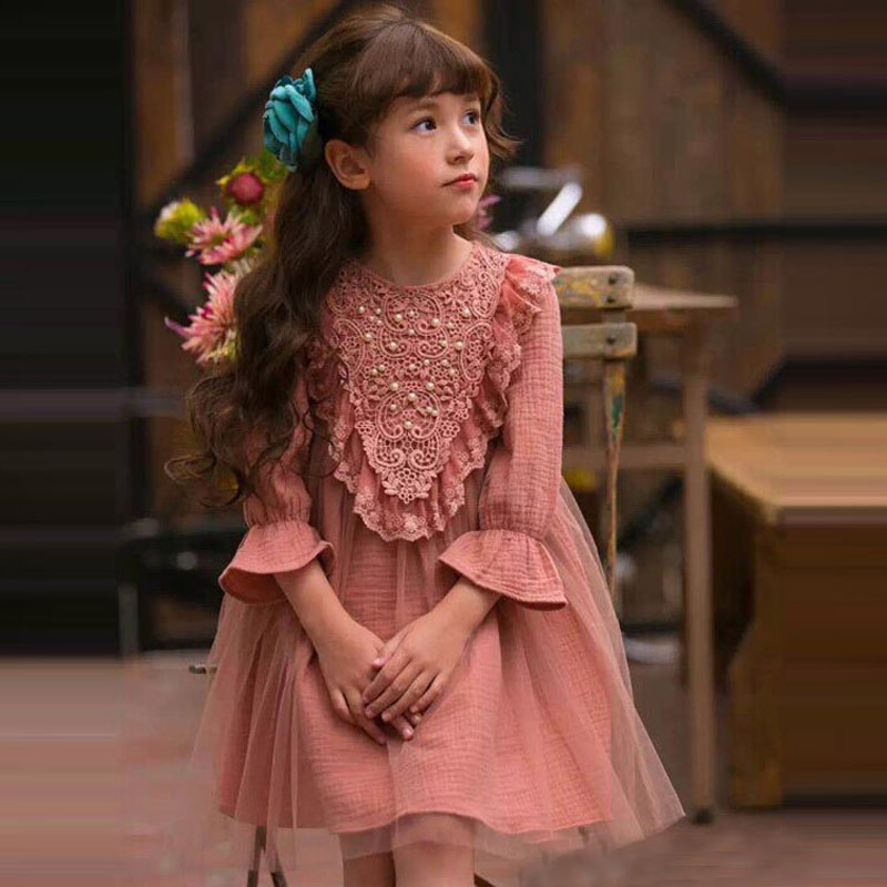 autumn girls dress cute lace hem dresses kids formal costume 2-7Y girls clothing dress o-neck cotton comfortable dresses<br><br>Aliexpress