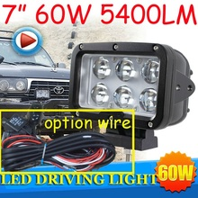"Free DHL/UPS Ship,7"" 60W 5400LM 10~30V,6500K,LED working light;Free ship!Optional wire;motorcycle light,forklift,tractor light"