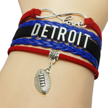 Infinity Love Detroit Baseball Team Bracelets Leather Suede Rope Charm Customize Friendship Wristband Women Bangle