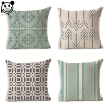 PEIYUAN Manufacturers Customized Cushion Cover Wholesale High Quality Pillow Case Green Stripes Geometric Shapes Pillow Cover(China)