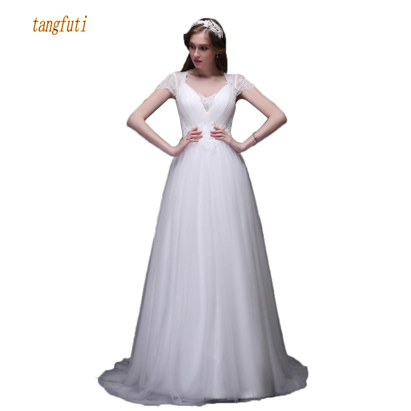 Elegant Tulle Wedding Dresses Cap Sleeve Beads Sequins A Line Button Back Women Bridal Dress Real Photos