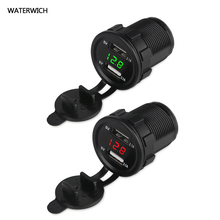 WATERWICH 12V 24V 2.1A Motorcycle Truck Car USB Charger Voltmeter Dual Usb Auto Charger Power Adapter Socket Phone Car-charger(China)