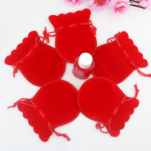 Free Shipping,50pcs/Lot 8*10cm Red Christmas Wedding voile gift bag Velvet Bags Jewelry packing Gift Pouches(China)