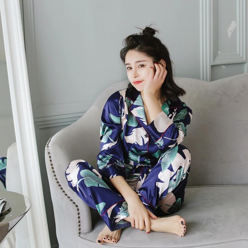 2018-Spring-Summer-New-Pattern-Lapel-Ice-Silk-Women-Pajamas-Home-Furnishing-Serve-Suit