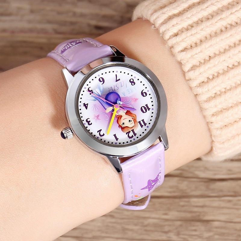 Original Disney Frozen Elsa Anna Sofia Princess Girl Leather Cartoon Children Watch Kids Lovely Gift For Student Clock Fz-54171 Watches