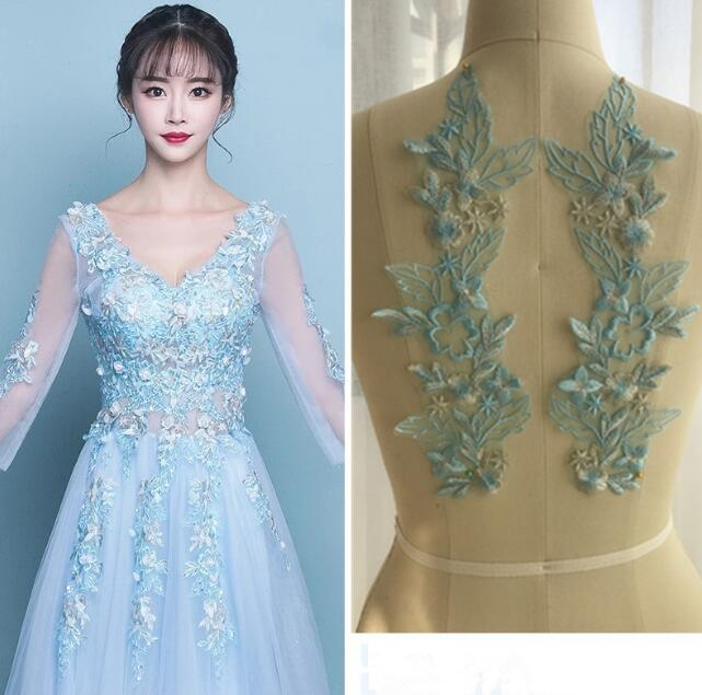 9cm TURQUOISE embroidered guipure lace bridal wedding dress prom trim veil