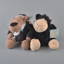 2Pcs 25cm NICI Black Sheeps And Black Wolf Stuffed Plush Toy, Baby Kids Doll Gift Free Shipping
