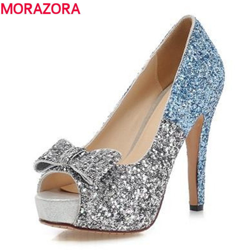 MORAZORA Big size 34-43 high quality women pumps peep toe shoes woman high heeled wedding shoes glitter elegant bride shoes<br>