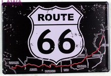 Free shipping 1pc Road 66 USA  car motel vintage Tin plate commercial tin Sign Bar Pub wall Decoration garage room poster Poster