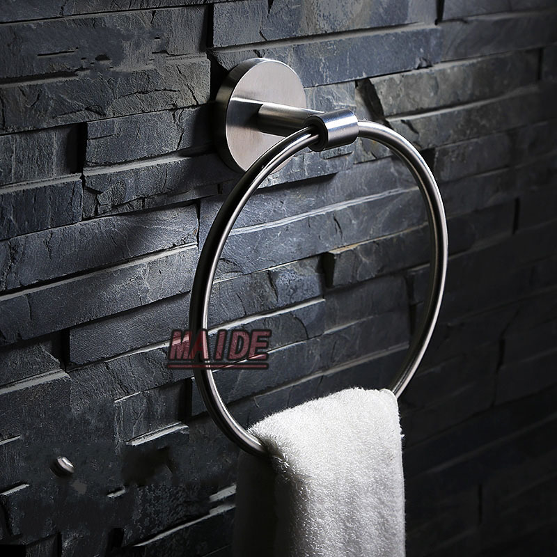 Stainless steel Brushed 304 stainless steel round style towel ring towel holder for bathroom<br><br>Aliexpress