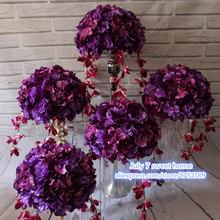 sweet new hom table centerpiece Artificial flowers balls wedding purple road lead flower hydrangea and Dahlia Rose