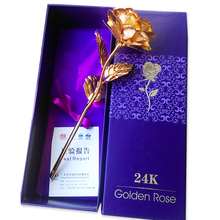 Creative Valentine's day/ Birthday / wedding gift ,24k golden rose lover's flower Gold Dipped Rose,artificial flower with box(China)