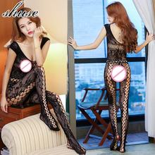 Buy Black Sexy Lingerie Fishnet Stocking Open Crotchless Women's Costume Underwear Bodysuit Hot Erotic Porn Baby Doll Nightwear