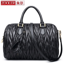 ZOOLER Black Boston Bags Genuine Lambskin Leather Handbag Women Leather Ruched Bag Original Famous Brand Bag Luxury Tote Purse