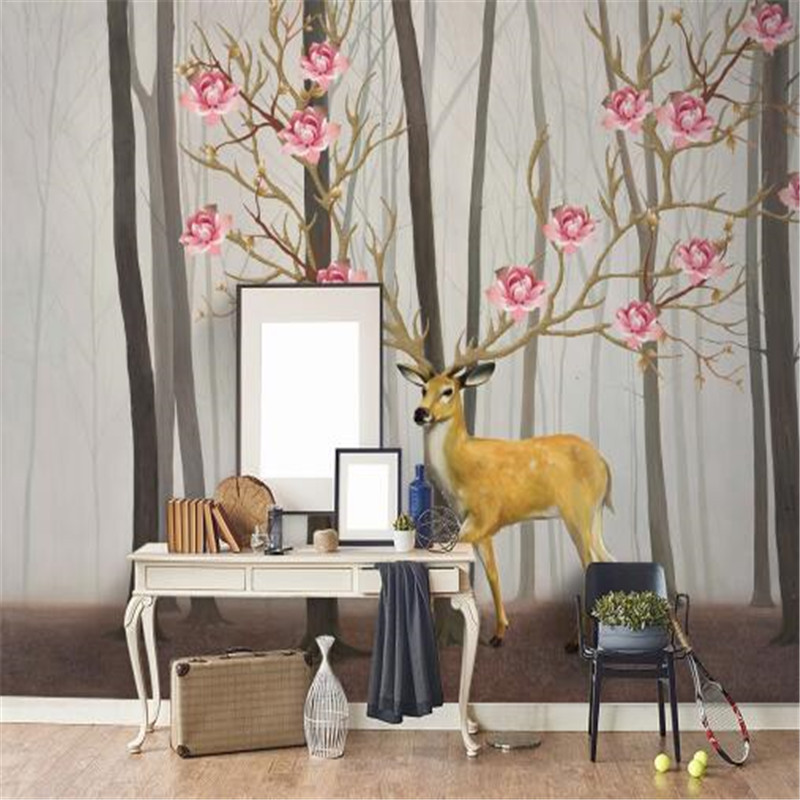 Custom 3D Photo Wallpapers High Quality Non-Woven Wall Paper Simple Wallpapers Hand-Painted Retro Elk for Living Room<br>