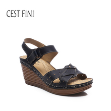 CESTFINI platform wedge sandals 2017 Women  Medium Heel Shoes high gladiator sandals  Leather Women Casual Shoes #SA011