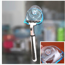 MOONBIFFY 1Pcs Clear Blue Plastic Super Suction Cup Razor Rack Bathroom Razor Holder Suction Cup Shaver