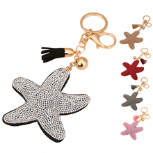 1 Pcs Cute Leather Key Chain Car Key Ring Star Pendant Rhinestone Keychain Five Colors ME3L