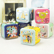 Tin Box Cute Sugar Tea Coffee Sundries Snacks Storage Case Candy Box Three-dimensional Relief Size:7.5x7.5x6.5cm 6pcs/lot Mix Up(China)