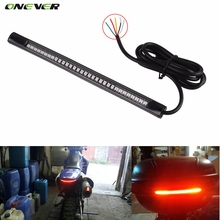 Universal Flexible LED Motorcycle Brake Lights Turn Signal Light Strip 48 Leds License Plate Light Flashing Tail Stop Lights(China)