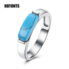R010 Retro Style Women's Natural Turquoises Rings Fashion White Gold /Black Gun Plated Natural Stone Rings Jewelry Best Gifts