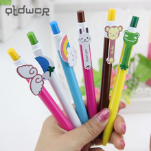 6PCS/bag 6 Designs Cute Cartoon Kawaii Novelty Ballpoint Pens Lovely Cat Bird Ball Pen Korean Stationery
