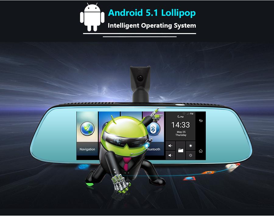 "Junsun 8"" 4G Special Mirror Car DVR Camera Android 5.1 with GPS DVRs Automobile Video Recorder Rearview Mirror Camera Dash Cam 7"