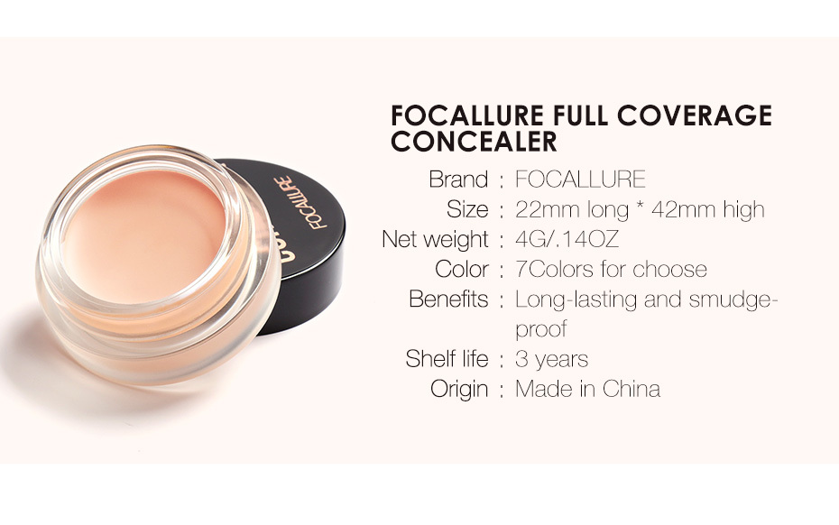 FOCALLURE 7 Colors Full Cover Concealer cream Makeup Primer Cover Foundation Base Lasting Oil Control Cream Concealer 8