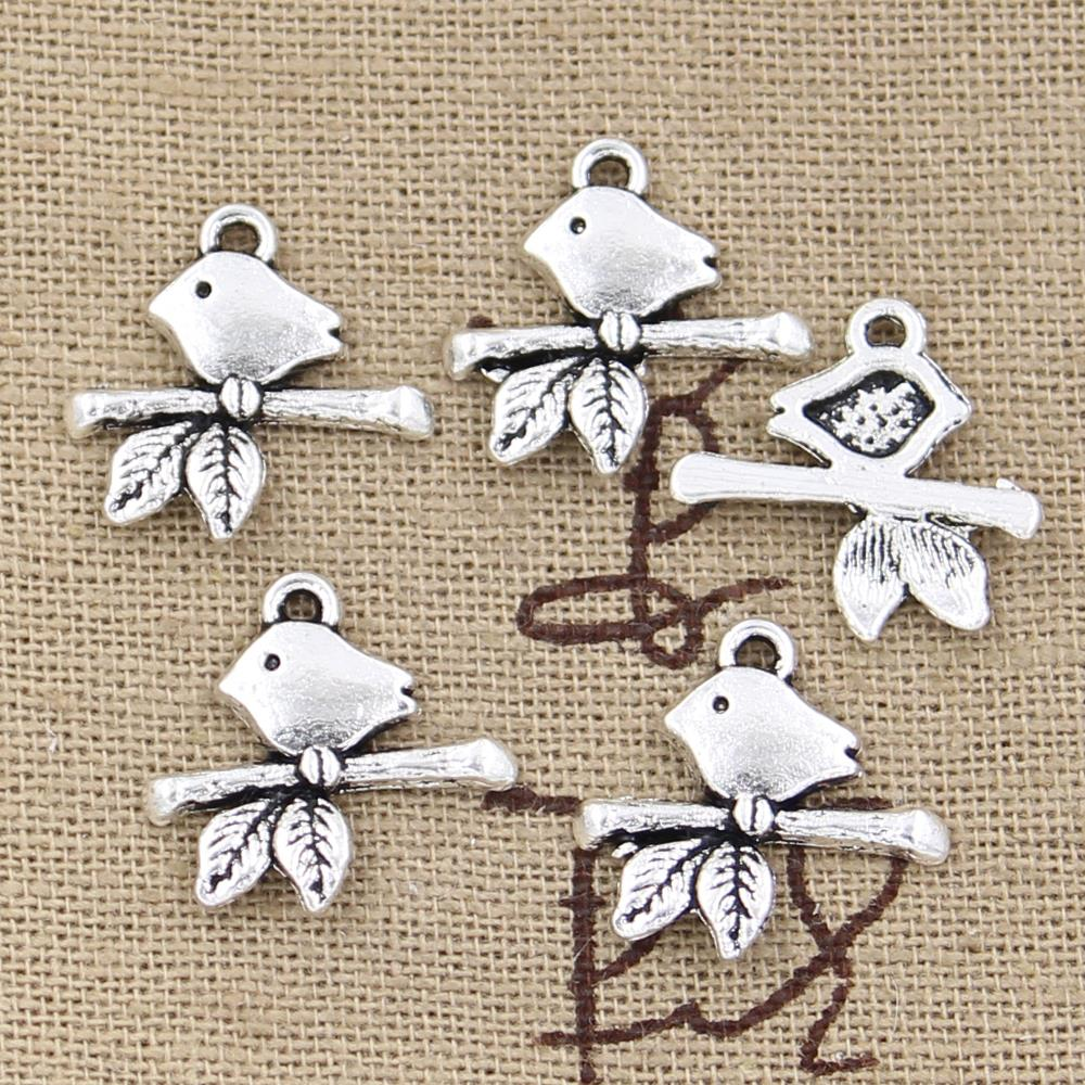 30pcs of Antique Tibetan silver Bird on a Branch Connector Charms 40X10mm