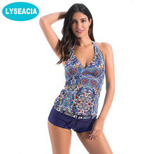 LYSEACIA Women's Halter Swimsuit Tankini Swimsuits Women Retro Swimwear Women Deep V Tops With Shorts Swimming Suit Beachwear(China)