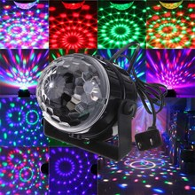 RGB LED Stage Lighting Effect 5W Voice Sound Control Crystal Magic Ball Laser Stage Lighting Party Disco Club DJ Lights Lamp(China)