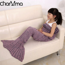 Child Bedding Mermaid Blanket Wool Knitting Fish Style Little Tail Blankets Autumn Warm Sleeping Bags Kids Princess Loves Gift