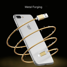 Stainless Metal Spring Fast Charging Data Sync Connector Cable for iPhone 5 6 7 8 Plus 1m Charge Cables for Samsung Huawei LG(China)