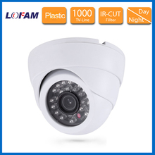 HD white CMOS 1000tvl video surveillance security Camera Home 960H IR filter indoor dome camera plastic night vision CCTV camera(China)