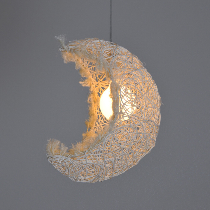 Country Rustic Beige Crescent Moon Hallway Pendant Lamp Bedroom Corridor Balcony Pendant Suspension Lighting<br><br>Aliexpress